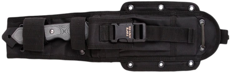 MOLLE compatible nylon sheath with storage pockets