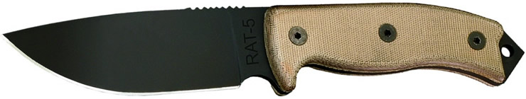 Large view of the RAT 5 fixed blade survival knife.