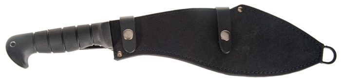 Black cordura sheath for storage and blade protection.
