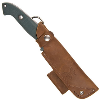 Benchmade Bushcrafter fitted in leather sheath