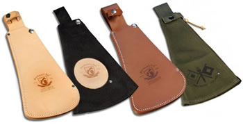Sheaths available in leather, nylon, treated leather and canvas material.