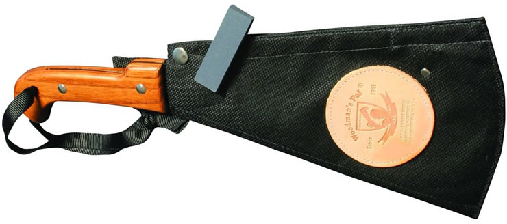 This version includes a basic nylon sheath and small sharpening stone.