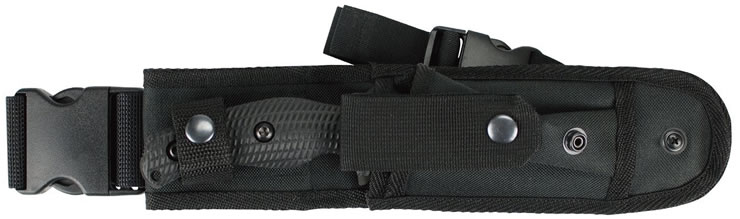 Versatile sheath with many carry options, kydex insert, storage pouch and MOLLE compatibility.