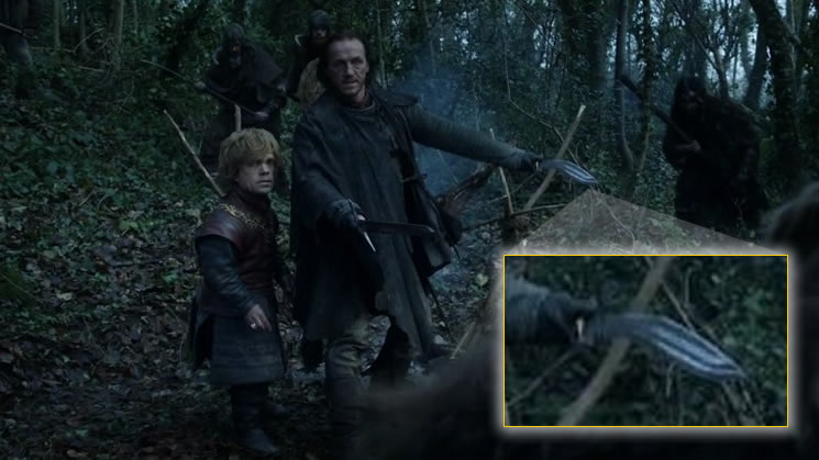 Scene with Bronn wielding his kukri knife along side Tyrion Lannister (zoomed in on kukri).