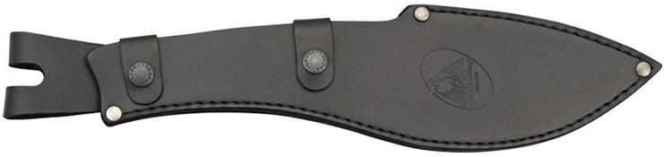 Leather sheath with swivel belt loop and two snap fasteners.
