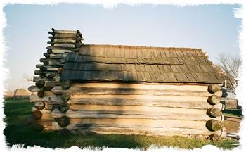 Log cabin for shelter