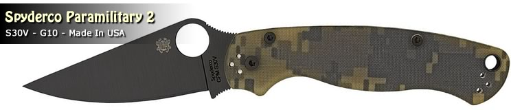 Paramilitary 2 folder with black DLC and digital camo pattern from Spyderco; made in Golden, Colorado USA.